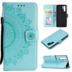 Intricate Embossing Datura Leather Wallet Case for Huawei P30 Pro - Mint Green
