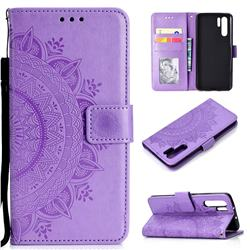 Intricate Embossing Datura Leather Wallet Case for Huawei P30 Pro - Purple