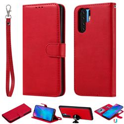 Retro Greek Detachable Magnetic PU Leather Wallet Phone Case for Huawei P30 Pro - Red