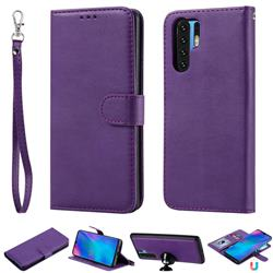 Retro Greek Detachable Magnetic PU Leather Wallet Phone Case for Huawei P30 Pro - Purple