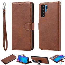 Retro Greek Detachable Magnetic PU Leather Wallet Phone Case for Huawei P30 Pro - Brown