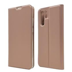 Ultra Slim Card Magnetic Automatic Suction Leather Wallet Case for Huawei P30 Pro - Rose Gold
