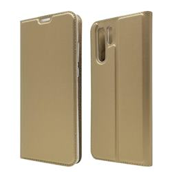 Ultra Slim Card Magnetic Automatic Suction Leather Wallet Case for Huawei P30 Pro - Champagne