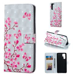 Butterfly Sakura Flower 3D Painted Leather Phone Wallet Case for Huawei P30 Pro