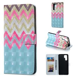 Color Wave 3D Painted Leather Phone Wallet Case for Huawei P30 Pro