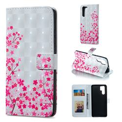 Cherry Blossom 3D Painted Leather Phone Wallet Case for Huawei P30 Pro
