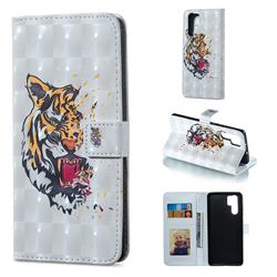 Toothed Tiger 3D Painted Leather Phone Wallet Case for Huawei P30 Pro