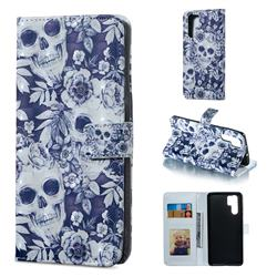Skull Flower 3D Painted Leather Phone Wallet Case for Huawei P30 Pro