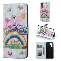 Rainbow Owl Family 3D Painted Leather Phone Wallet Case for Huawei P30 Pro