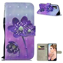 Purple Flower 3D Painted Leather Wallet Phone Case for Huawei P30 Pro