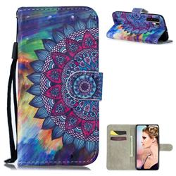 Oil Painting Mandala 3D Painted Leather Wallet Phone Case for Huawei P30 Pro