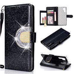 Glitter Diamond Buckle Splice Mirror Leather Wallet Phone Case for Huawei P30 Pro - Black