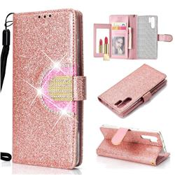 Glitter Diamond Buckle Splice Mirror Leather Wallet Phone Case for Huawei P30 Pro - Rose Gold