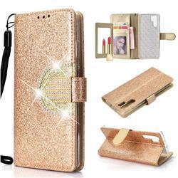 Glitter Diamond Buckle Splice Mirror Leather Wallet Phone Case for Huawei P30 Pro - Golden