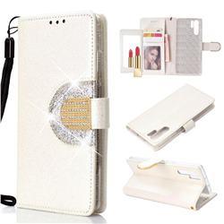 Glitter Diamond Buckle Splice Mirror Leather Wallet Phone Case for Huawei P30 Pro - White