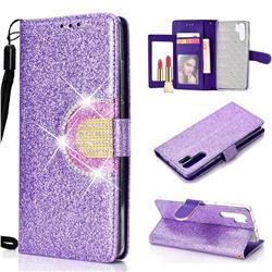 Glitter Diamond Buckle Splice Mirror Leather Wallet Phone Case for Huawei P30 Pro - Purple