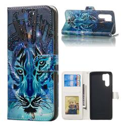 Ice Wolf 3D Relief Oil PU Leather Wallet Case for Huawei P30 Pro