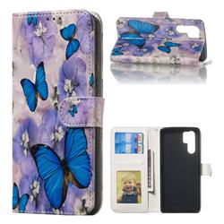 Purple Flowers Butterfly 3D Relief Oil PU Leather Wallet Case for Huawei P30 Pro