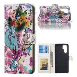 Flower Elephant 3D Relief Oil PU Leather Wallet Case for Huawei P30 Pro