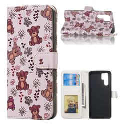 Cute Bear 3D Relief Oil PU Leather Wallet Case for Huawei P30 Pro