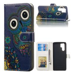 Folk Owl 3D Relief Oil PU Leather Wallet Case for Huawei P30 Pro