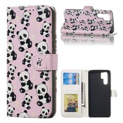 Cute Panda 3D Relief Oil PU Leather Wallet Case for Huawei P30 Pro