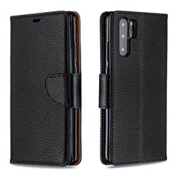 Classic Luxury Litchi Leather Phone Wallet Case for Huawei P30 Pro - Black