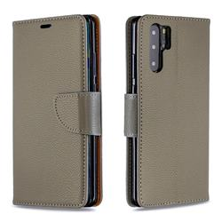 Classic Luxury Litchi Leather Phone Wallet Case for Huawei P30 Pro - Gray