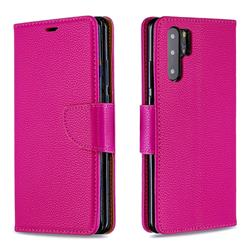 Classic Luxury Litchi Leather Phone Wallet Case for Huawei P30 Pro - Rose