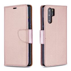 Classic Luxury Litchi Leather Phone Wallet Case for Huawei P30 Pro - Golden