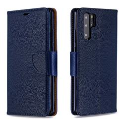 Classic Luxury Litchi Leather Phone Wallet Case for Huawei P30 Pro - Blue
