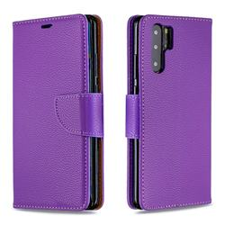 Classic Luxury Litchi Leather Phone Wallet Case for Huawei P30 Pro - Purple