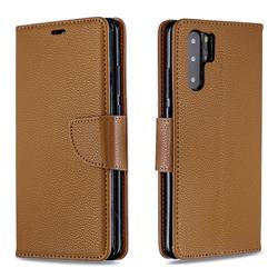 Classic Luxury Litchi Leather Phone Wallet Case for Huawei P30 Pro - Brown
