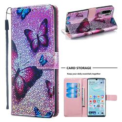 Blue Butterfly Sequins Painted Leather Wallet Case for Huawei P30 Pro