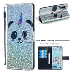 Panda Unicorn Sequins Painted Leather Wallet Case for Huawei P30 Pro