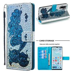 Mermaid Seahorse Sequins Painted Leather Wallet Case for Huawei P30 Pro