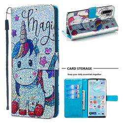Star Unicorn Sequins Painted Leather Wallet Case for Huawei P30 Pro