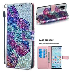Glutinous Flower Sequins Painted Leather Wallet Case for Huawei P30 Pro