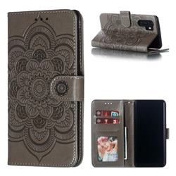 Intricate Embossing Datura Solar Leather Wallet Case for Huawei P30 Pro - Gray