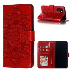 Intricate Embossing Datura Solar Leather Wallet Case for Huawei P30 Pro - Red
