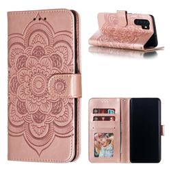 Intricate Embossing Datura Solar Leather Wallet Case for Huawei P30 Pro - Rose Gold