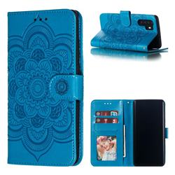 Intricate Embossing Datura Solar Leather Wallet Case for Huawei P30 Pro - Blue