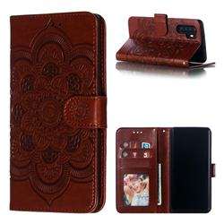 Intricate Embossing Datura Solar Leather Wallet Case for Huawei P30 Pro - Brown