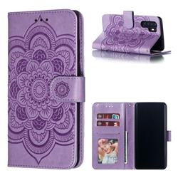Intricate Embossing Datura Solar Leather Wallet Case for Huawei P30 Pro - Purple