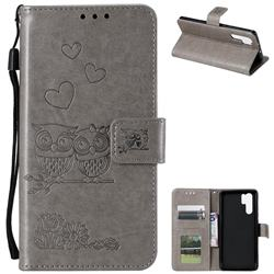 Embossing Owl Couple Flower Leather Wallet Case for Huawei P30 Pro - Gray