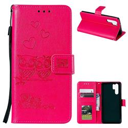Embossing Owl Couple Flower Leather Wallet Case for Huawei P30 Pro - Red
