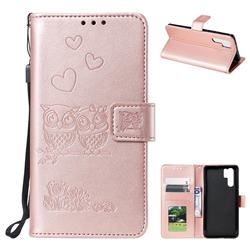Embossing Owl Couple Flower Leather Wallet Case for Huawei P30 Pro - Rose Gold