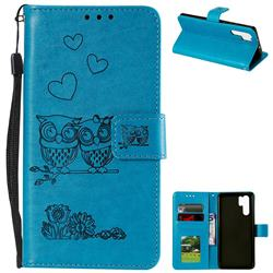 Embossing Owl Couple Flower Leather Wallet Case for Huawei P30 Pro - Blue