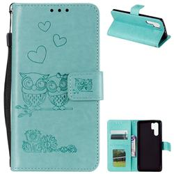 Embossing Owl Couple Flower Leather Wallet Case for Huawei P30 Pro - Green