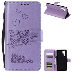 Embossing Owl Couple Flower Leather Wallet Case for Huawei P30 Pro - Purple